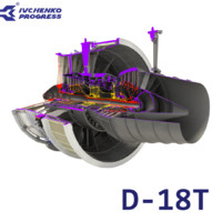 3d d-18t turbofan engine cutaway model