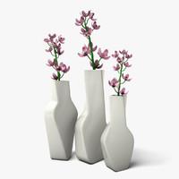 3d model flowers contemporary vases
