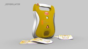 3d model defibrillator defib medical