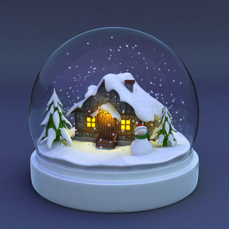 3d model snowglobe snow globe