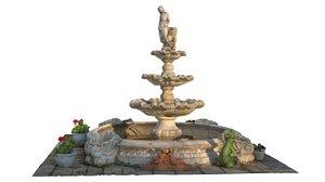 garden fountain 3d model