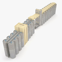 silos grain 3d model
