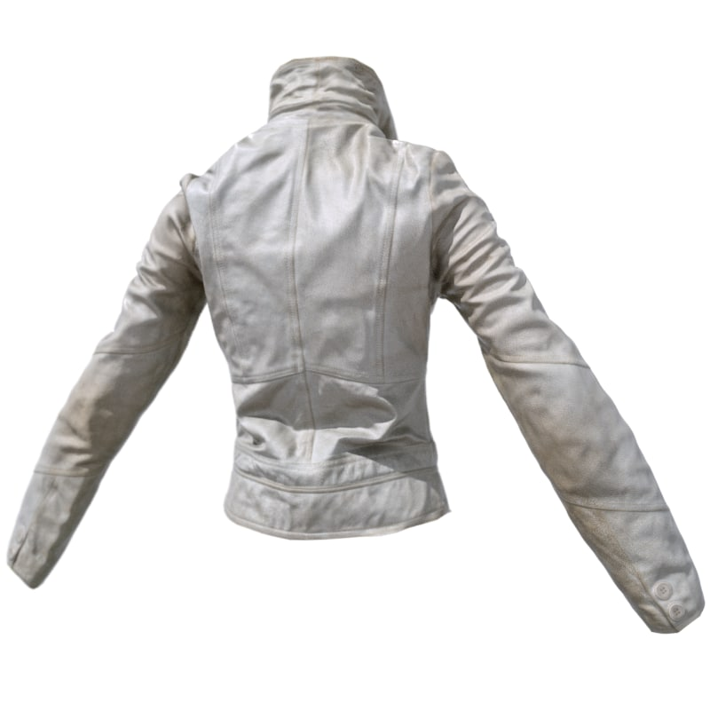 white leather jacket 3d obj