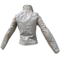3d white leather jacket