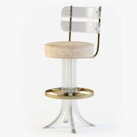 3dsmax lucite brass swivel bar stool