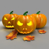 pumpkin autumn faces 3d max