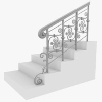 staircase metal wood 3d model