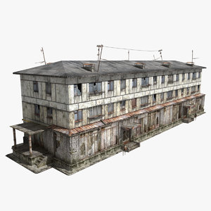 abandoned 3-storey panel house 3d model