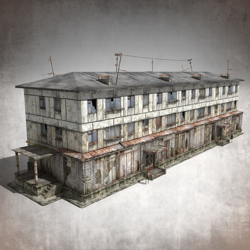 abandoned 3-storey panel house 3d model