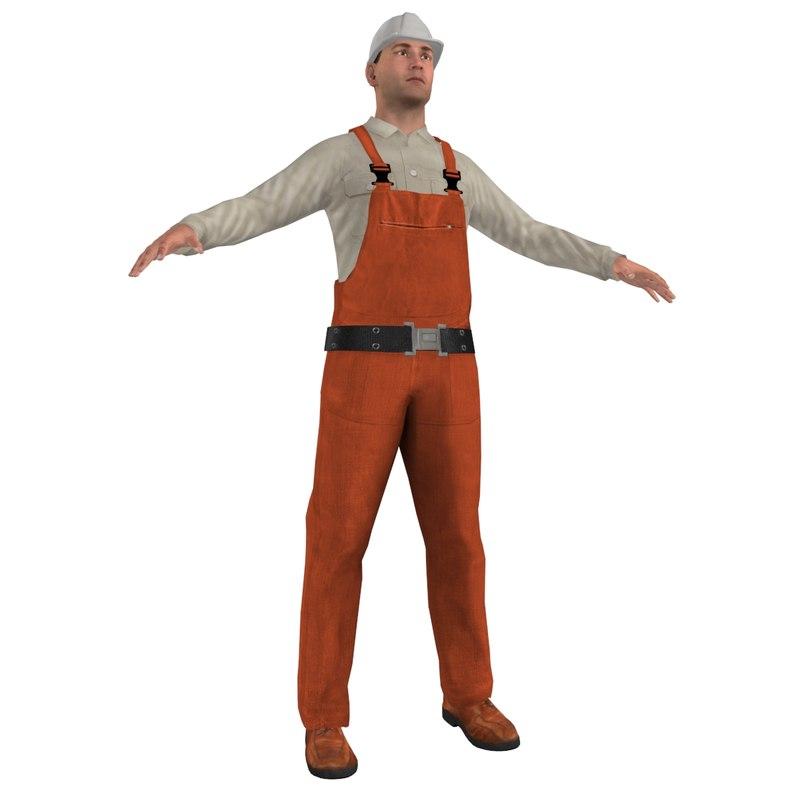 3d worker man model