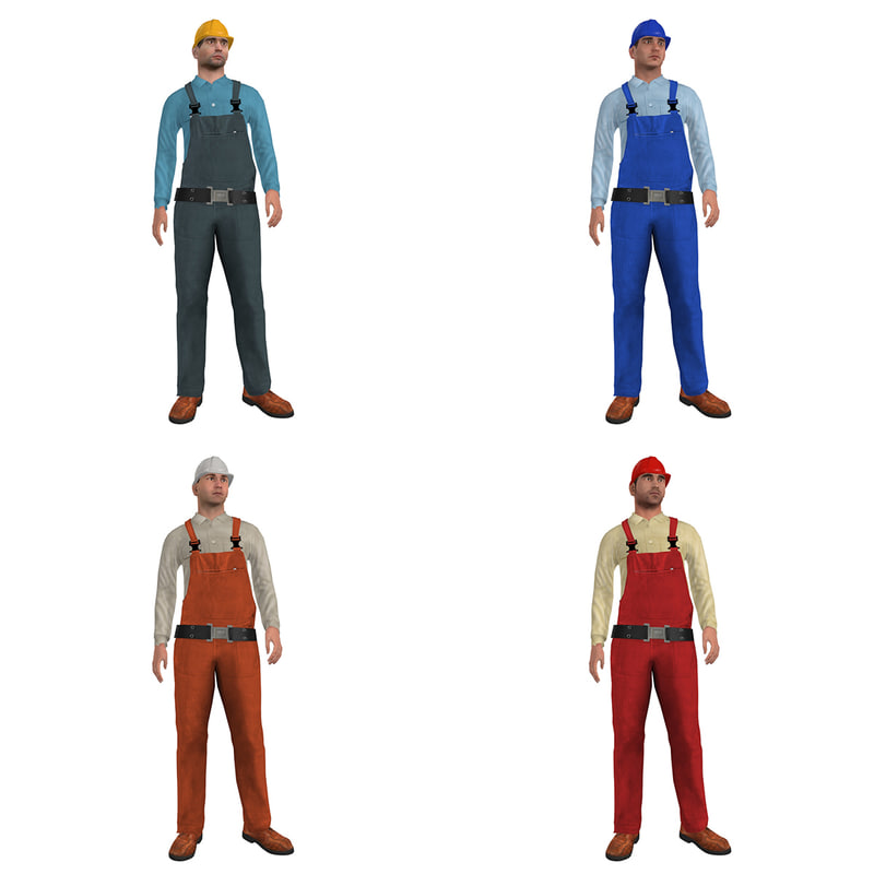 3d model rigged worker man