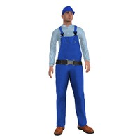 3d model of rigged worker man