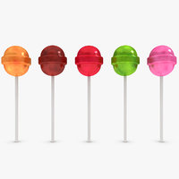 lollipops asst 5 colors 3d obj