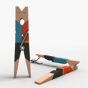 clothespin clothes pin 3d obj