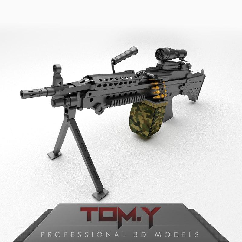 m249 light machine gun 3d model