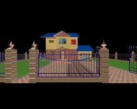 house realistic fence 3d model