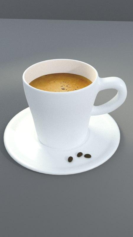 3d espresso plate beans model
