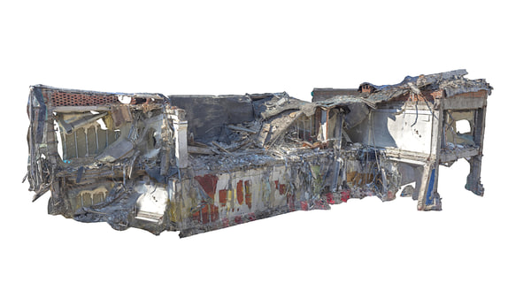 destroyed building 3d obj