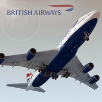 boeing 747-400 plane british airways 3d model