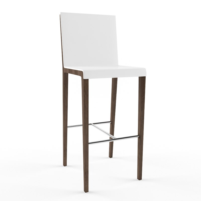 wood bar stool 3d max