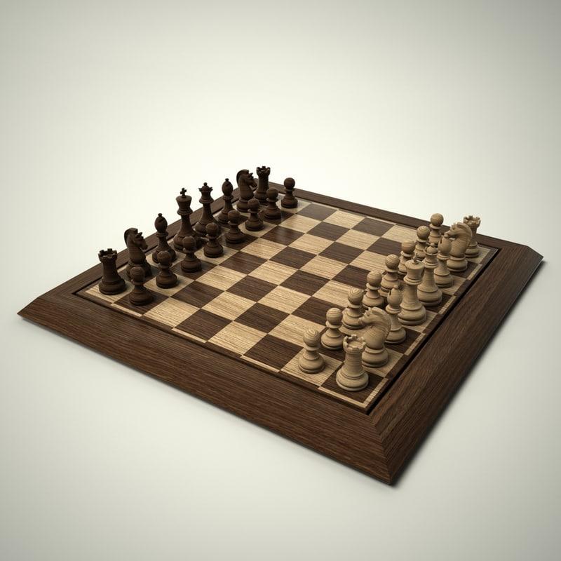 chess set hd 3d model