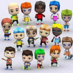 chibii people kids 3d 3ds
