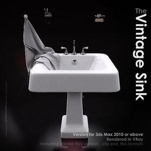 3d model classical wash basin