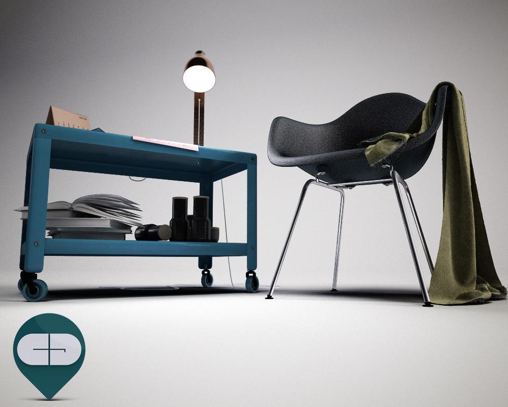 3d model chair ikea table