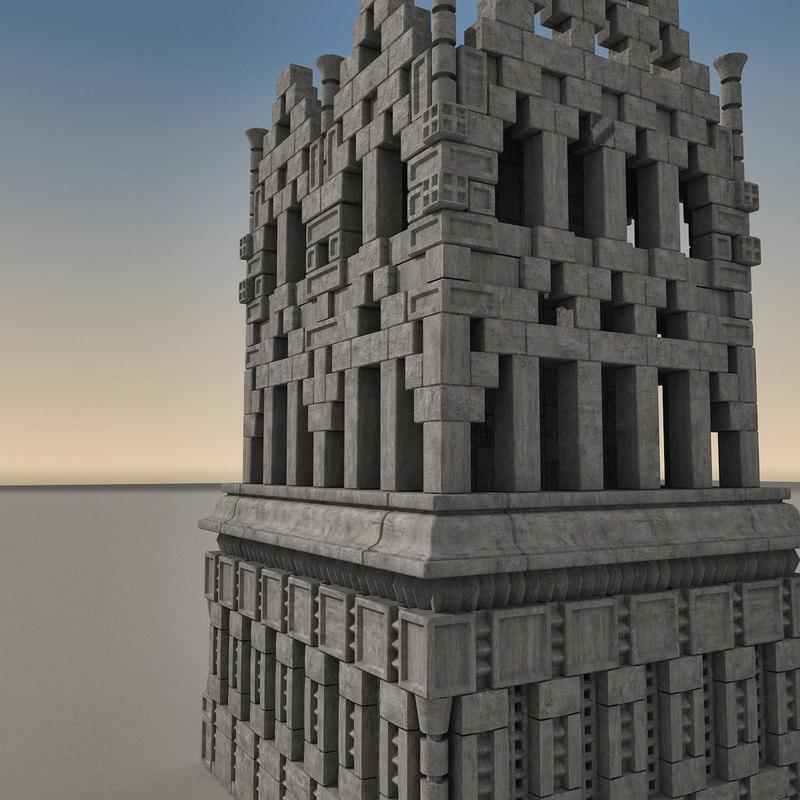 obj ancient fantasy building