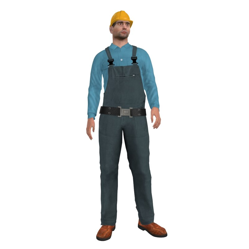 3d rigged worker man