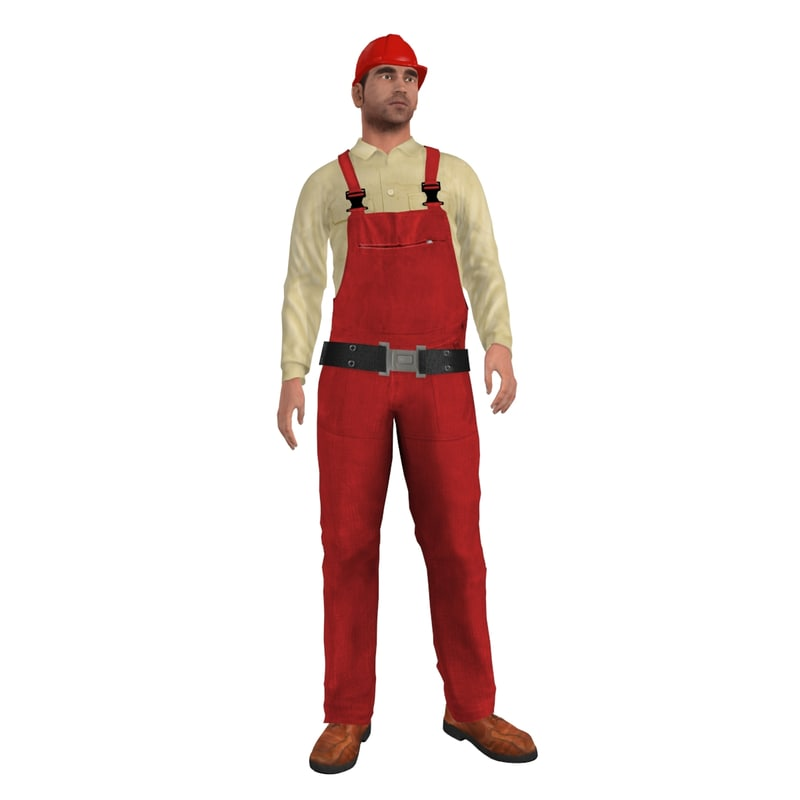 3d rigged worker man model