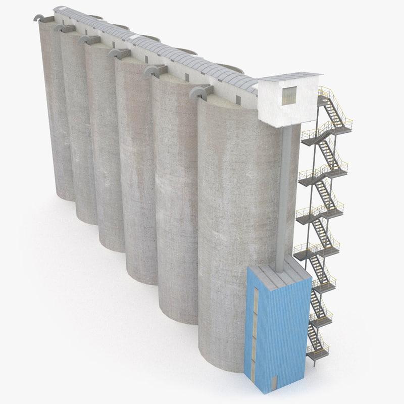 grain silos - 3ds