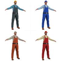 pack worker man 3d model