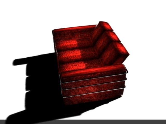 3d red sofa model