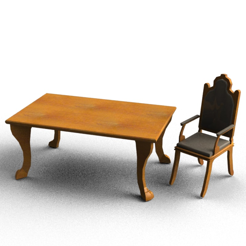 3d model classic chair table