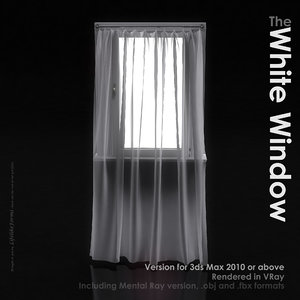 3ds max window white curtains