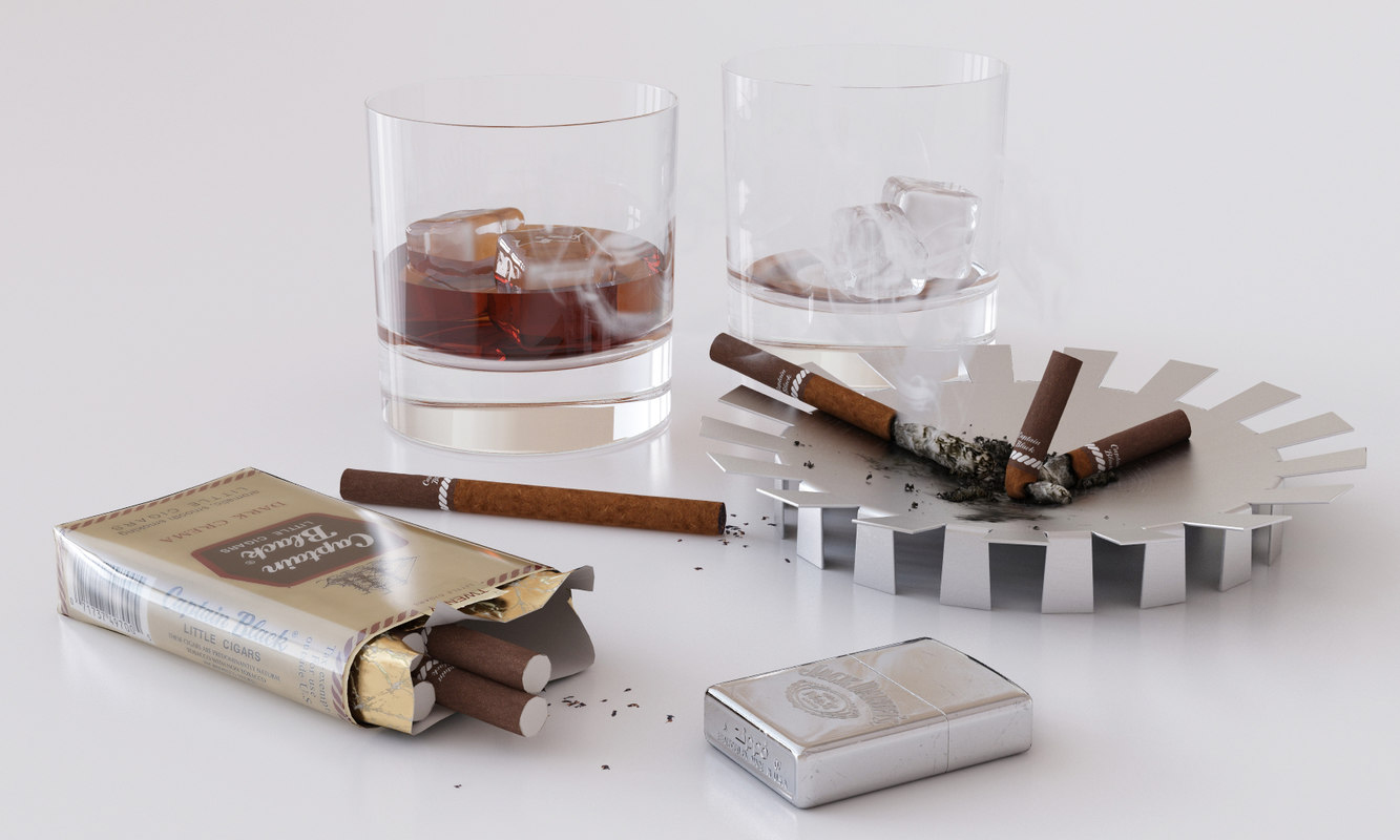cigarettes whiskey 3d max
