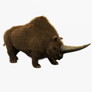 3d model elasmotherium pose fur