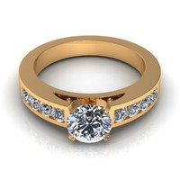 Channel set Round Shaped Diamond Engagement Ring
