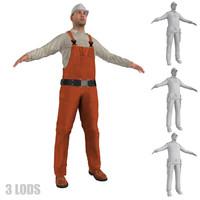worker lod s man 3d model
