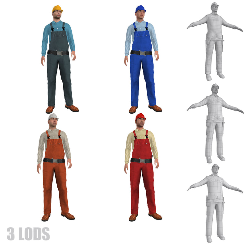 rigged workers lod s 3d model