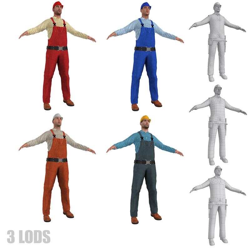 3d model workers lod s man