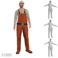 3d max rigged worker lod s