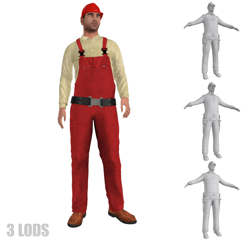 max rigged worker lod s