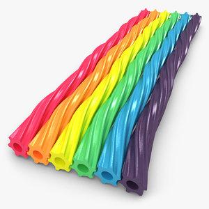 3d model twizzlers rainbow