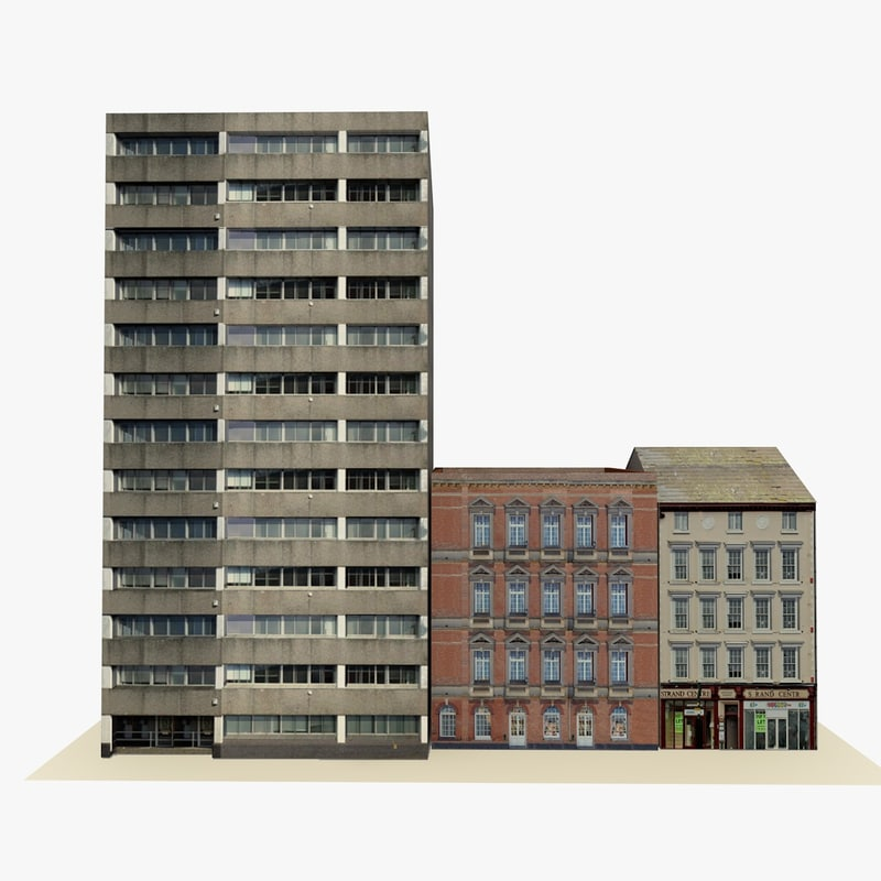 3d model ready english city block