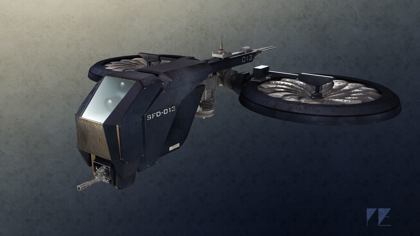 3d model of drone gritty future