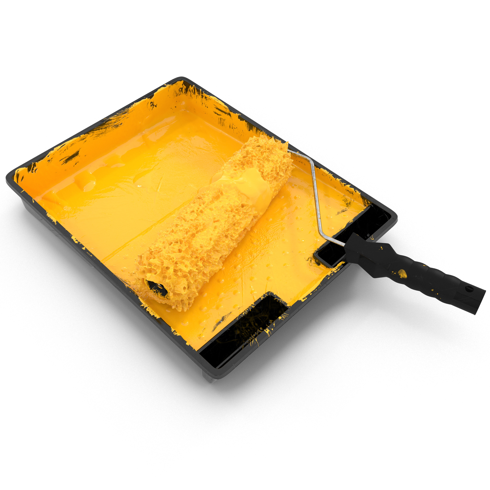paint tray roller brush 3d 3ds
