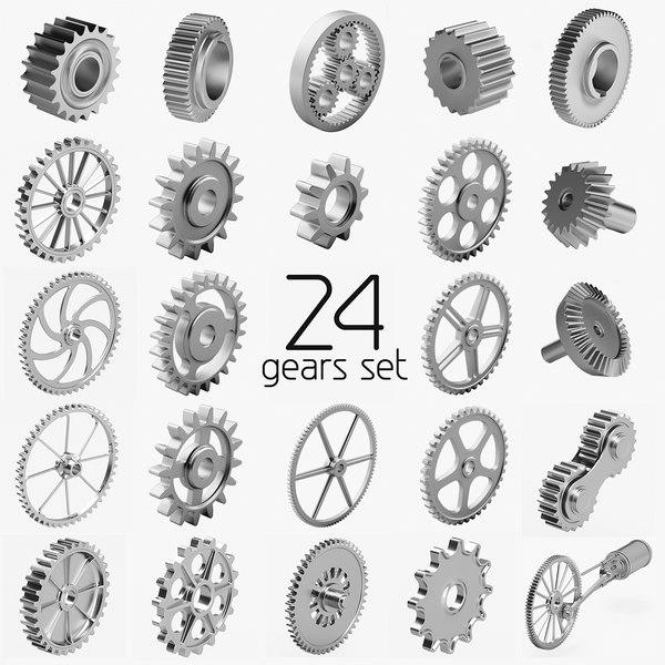 3d 24 gears set model