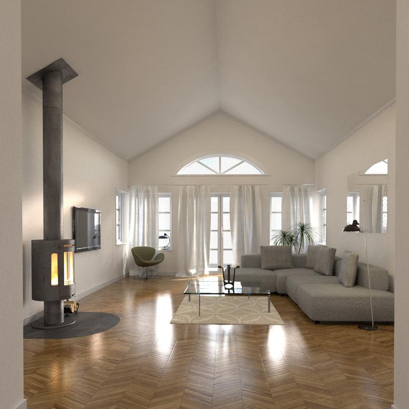 living room 3d obj